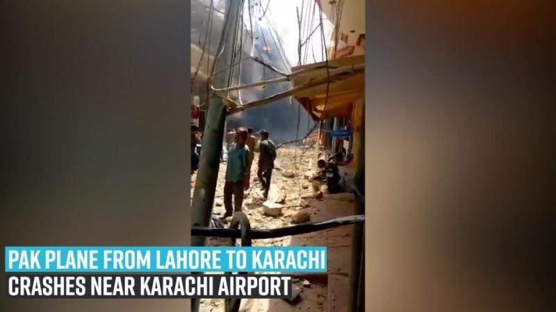 Pak plane from Lahore to Karachi crashes near Karachi Airport