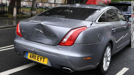 The collision left a large dent in the Prime Minister's car.