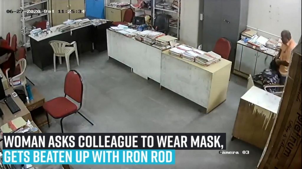 Woman employee asks colleague to wear mask, gets mercilessly beaten up with iron rod