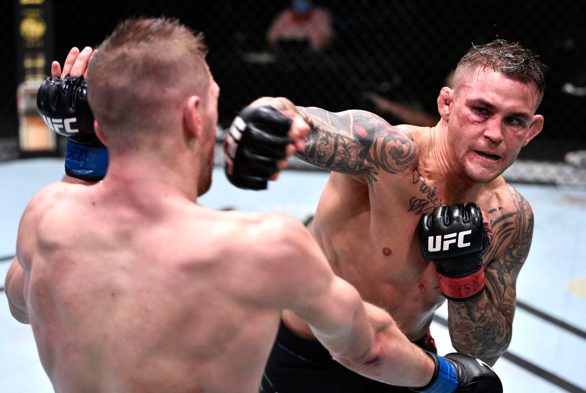 Dustin Poirier survives brutal second round to win UFC slugfest