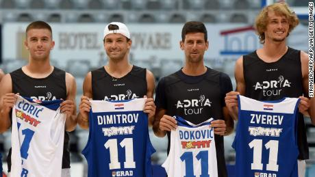 Borna Coric, Grigor Dimitrov, Novak Djokovic and Alexander Zverev (left to right) pose for a group shot ahead of an exhibition basketball match in Zadar, Croatia.