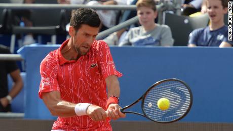 Djokovic hits a return during the Adria Tour in Zadar, Croatia.