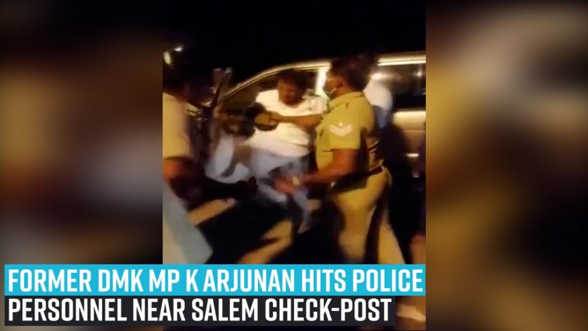 Former DMK MP K Arjunan hits police personnel near Salem check-post
