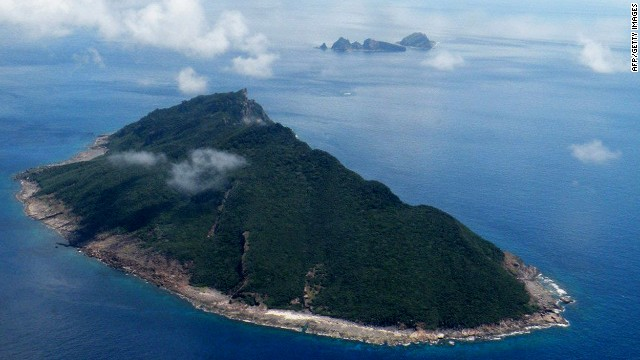 This aerial shot taken on September 15, 2010 shows the disputed islands known as Senkaku in Japan and Diaoyu in China in the East China Sea.