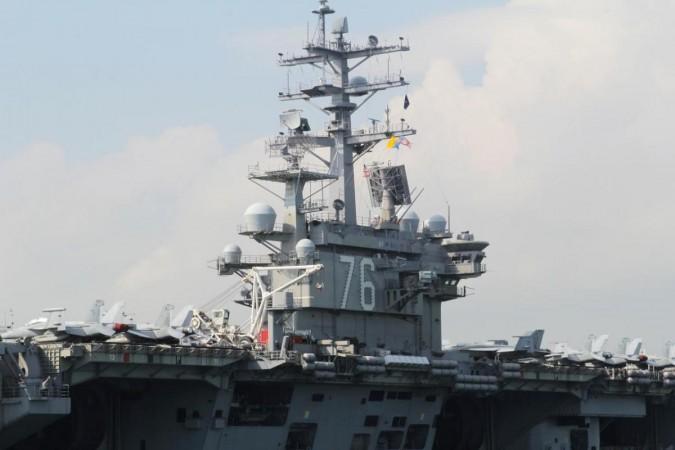 FILE PHOTO: U.S. Navy aircraft carrier USS Ronald Reagan is seen during its visit to Hong Kong, China November 21, 2018. REUTERS/Yuyang Wang
