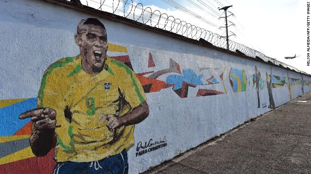 Graffiti depicting Brazilian football star Ronaldo, painted by Brazilian street artist Paulo Consentino in celebration of the FIFA 2014 World Cup.