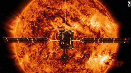 An artist's impression of the Solar Orbiter capturing magnetic field activity at the poles.