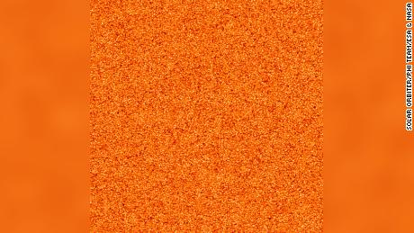 This image shows the sun's granulation pattern that results from the movement of hot plasma under the sun's visible surface.