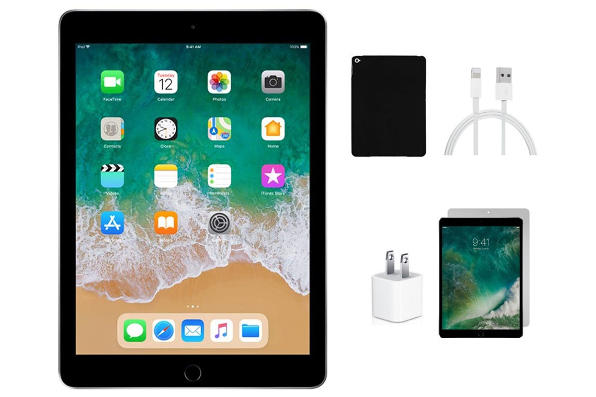 An iPad Air and accessories