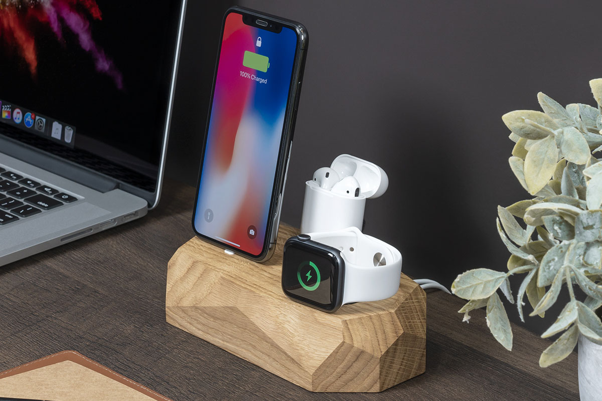 A wood charging hub, charging tech devices