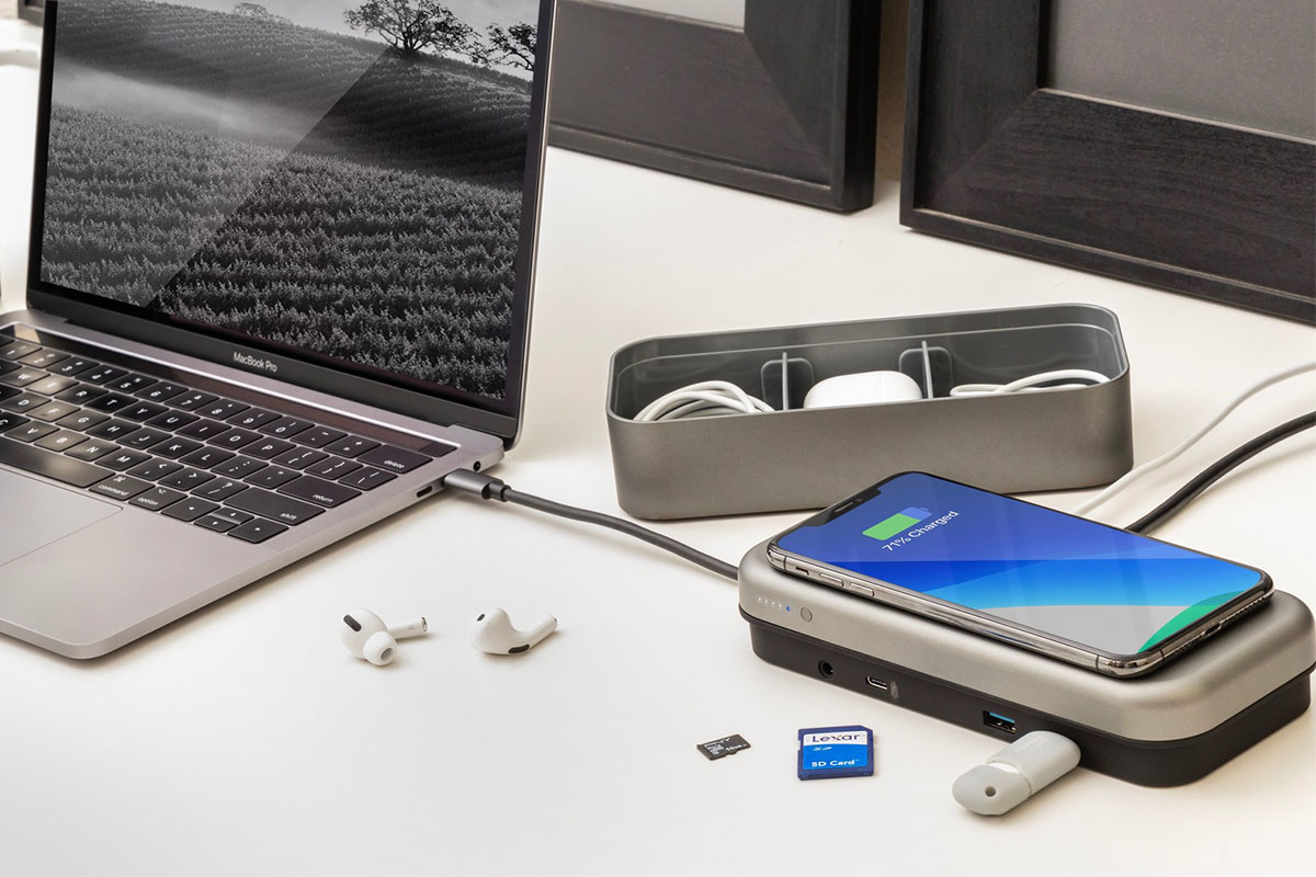 Tech devices using a charging hub