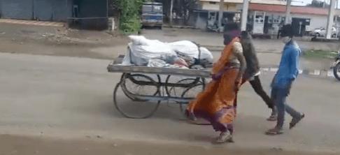 Belgaum woman pushes husband's body on cart