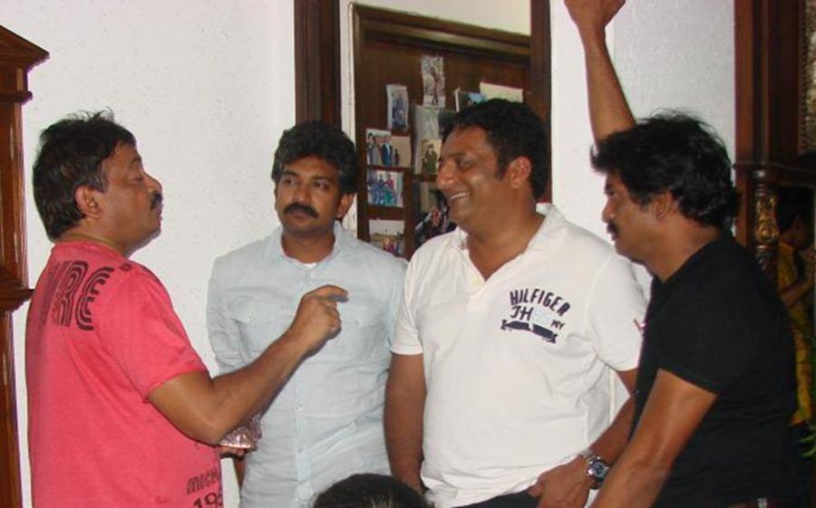 Ram Gopal Varma with SS Rajamouli, Prakash Raj and Puri Jagannadh