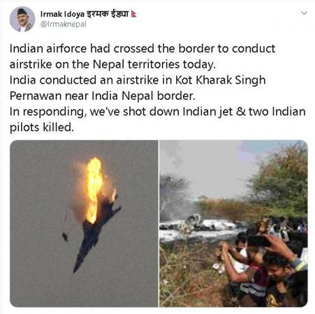 Old, unrelated images shared as Indian jet shot down by Nepal