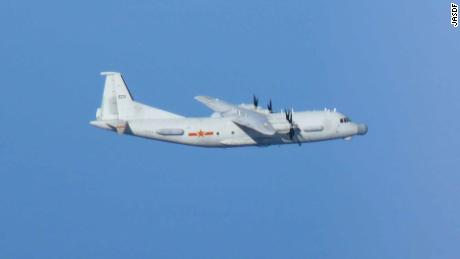 Chinese Y-9 photographed by Japanese fighters on December 27, 2019.