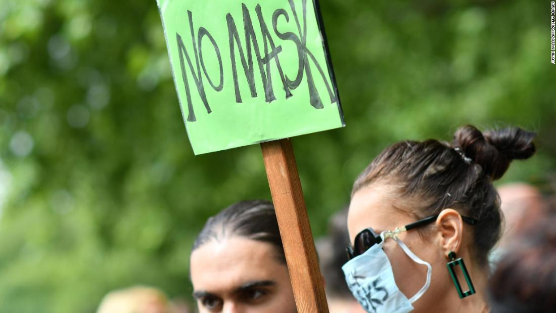 Anti-mask protests: Hundreds of people, some wearing masks, protested against mask-wearing in London