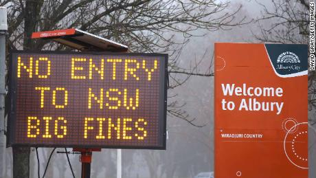 A sign of no entry is displayed in the New South Wales, Victoria border town of Albury on July 7.