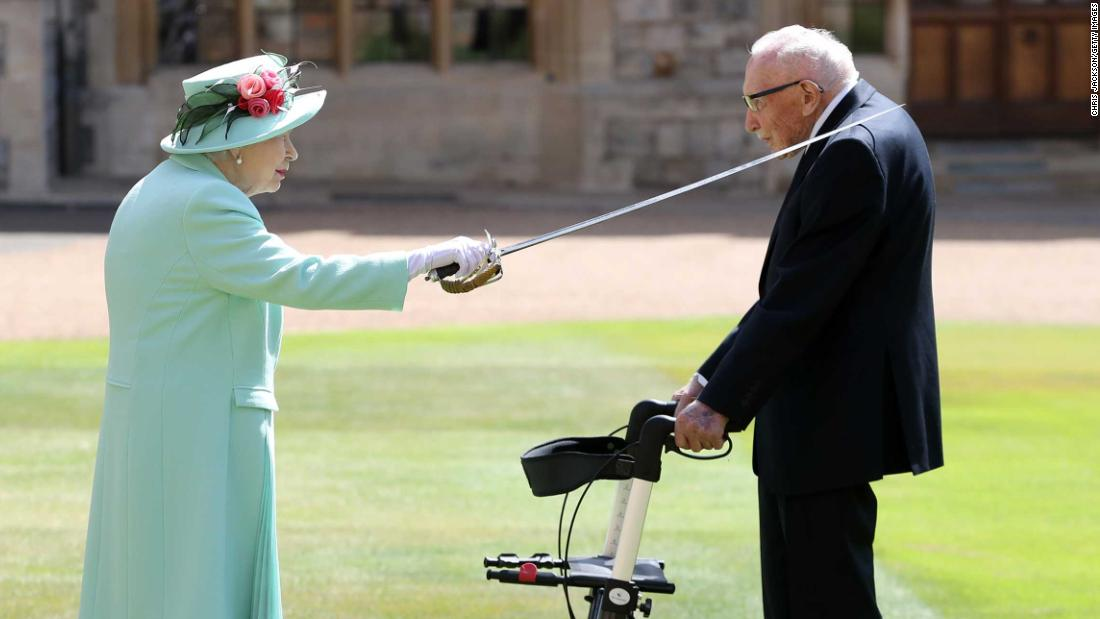 Captain Tom Moore knighted by Queen after raising millions for NHS