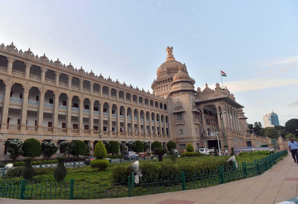 A view of Vidhana Soudha after the entry gates were closed following political development in Karnataka on July 10, 2019.