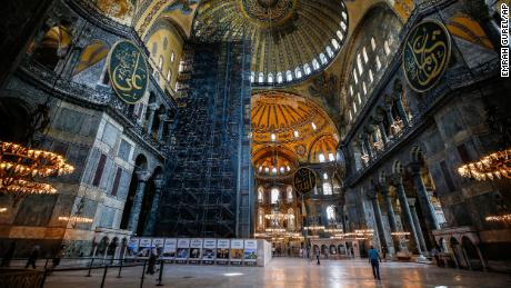 People visit the Byzantine-era Hagia Sophia, one of Istanbul's main tourist attractions in the historic Sultanahmet district of Istanbul on Thursday, June 25, 2020.