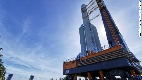 This photo taken on July 17, 2020 shows a Long March 5 rocket being transferred before a planned launch in Wenchang in China's southern Hainan province.