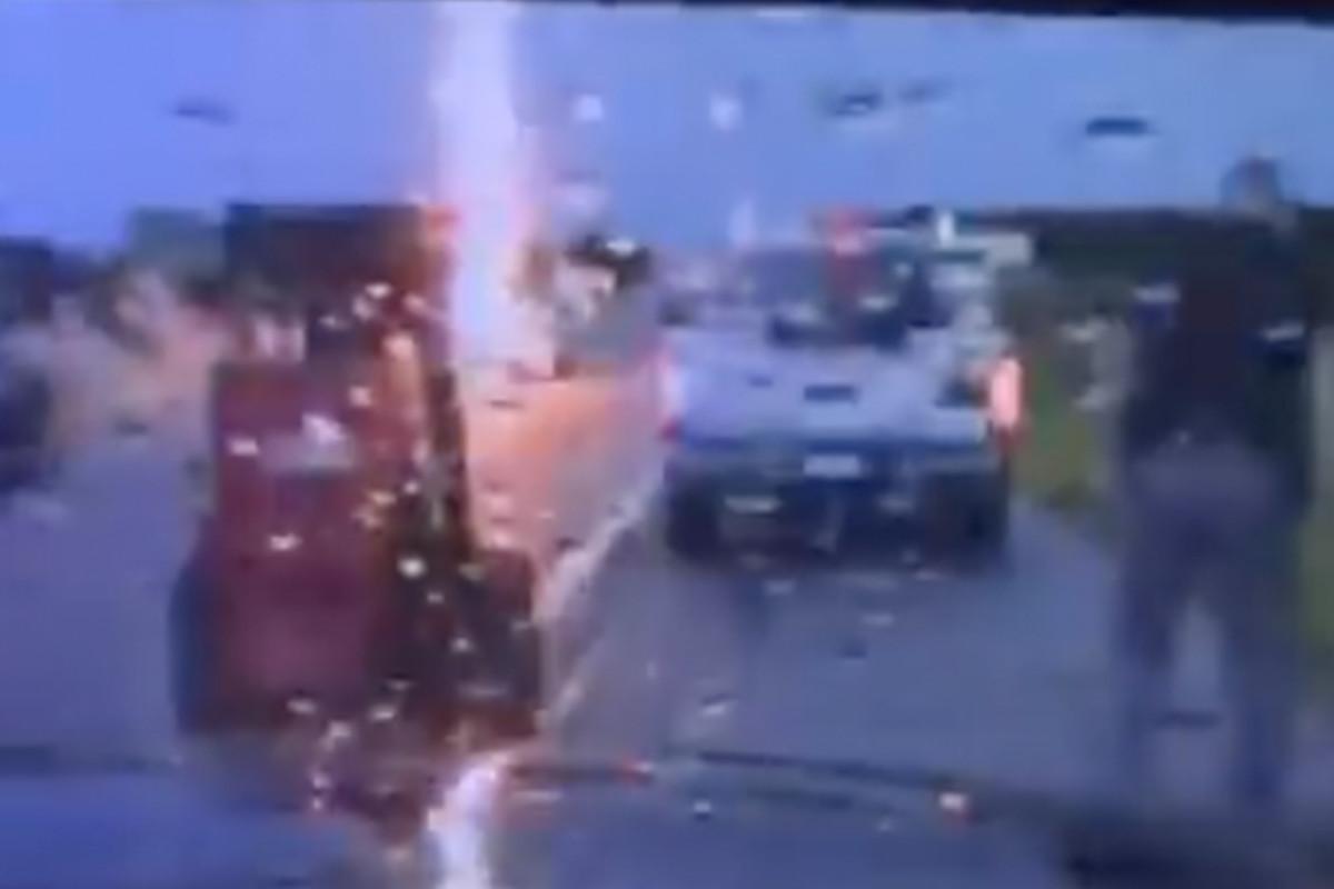 Oklahoma trooper helping motorist nearly struck by lightning