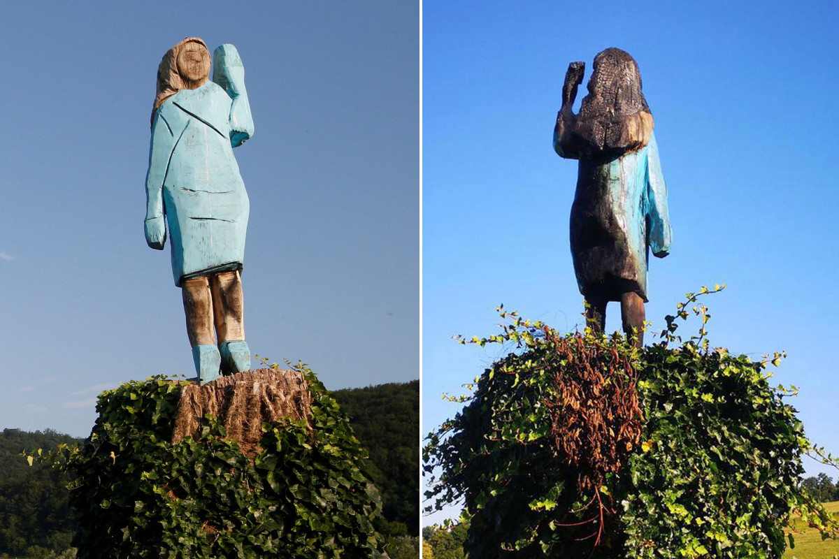 Statue of Melania Trump torched in her native Slovenia