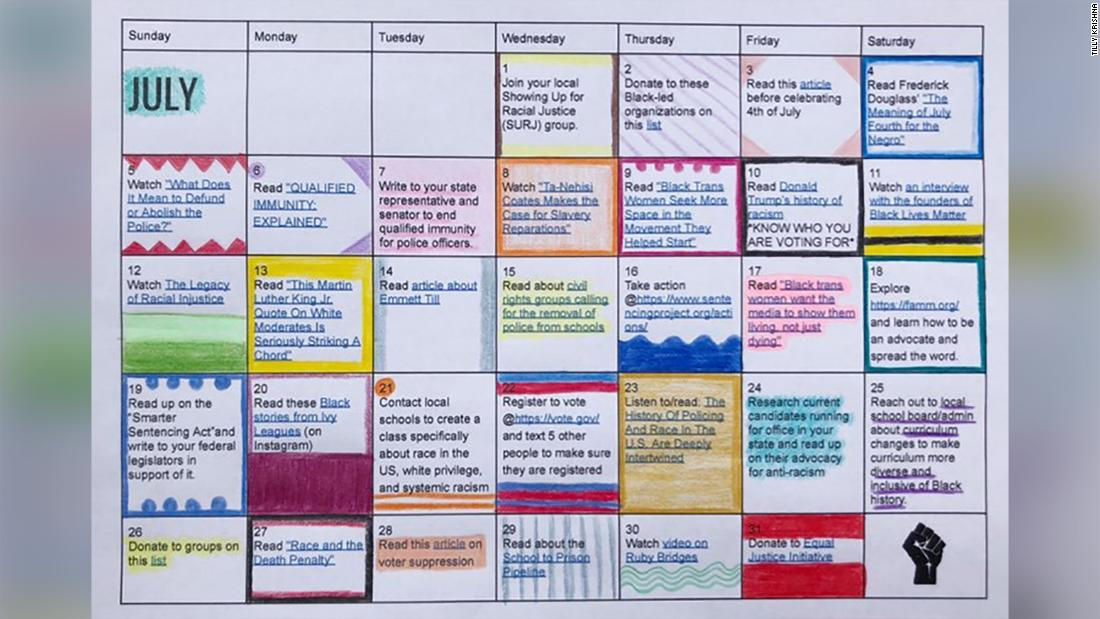 Teenager creates anti-racism calendar - CNN