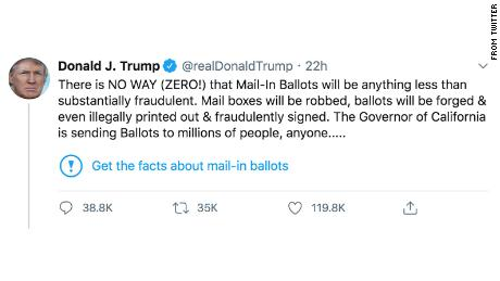 Fact-checking Trump's recent claims that mail-in voting is rife with fraud