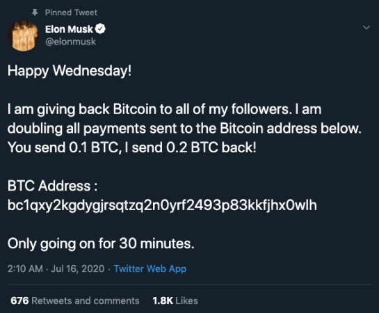 Elon Musk account hacked