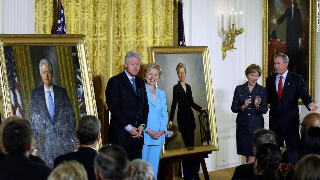 White House portraits of Bill Clinton and George W. Bush moved from prominent space to rarely used room