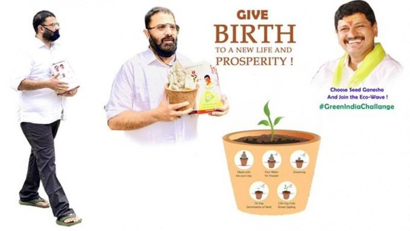 Krishnudu showing MP Santosh Kumar's Seed Vinayaka Idols