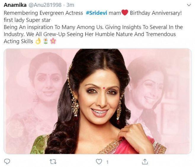 Fans heartfelt post on Sridevi's birthday