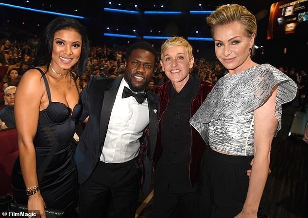 Crazy: In the Instagram post, which included a photo of him on The Ellen DeGeneres Show, Hart wrote that it was 'crazy to see [his] friend go thru what she's going thru publicly' Eniko, Kevin, Ellen, and Ellen's wife Portia de Rossi pictured in 2017