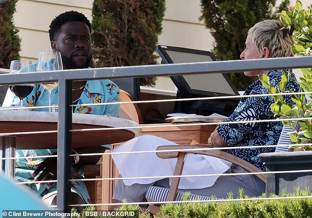 Nice view: For their lunch date, Kevin and Ellen sat at a table for two with an impressive ocean view