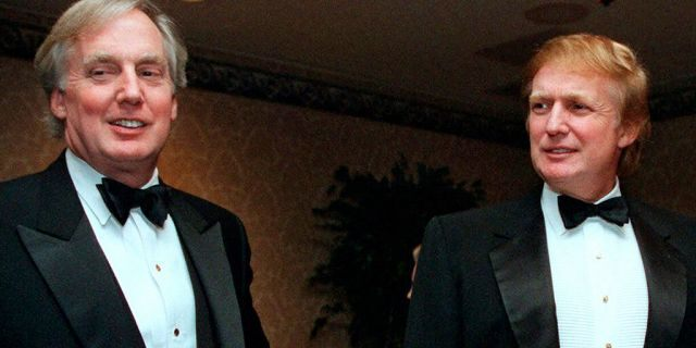 FILE - In this Nov. 3, 1999, file photo, Robert Trump, left, joins then real estate developer and presidential hopeful Donald Trump at an event in New York. (AP Photo/Diane Bonadreff, File)