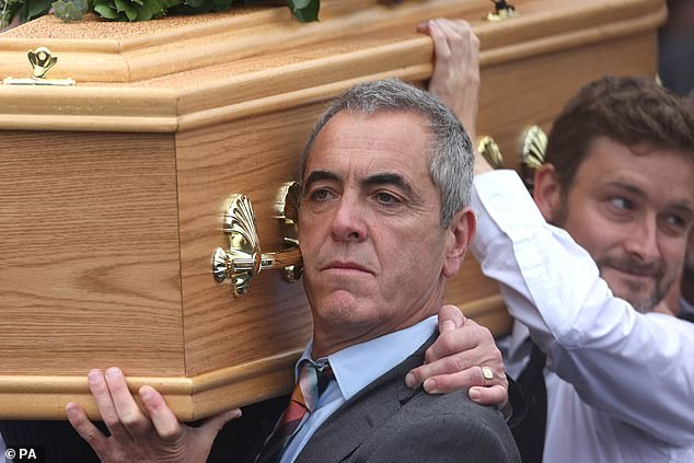 Nesbitt carries his father's casket today. The actordescribed his father as a 'great listener' and said that shortly before his death he had been writing a history of his life