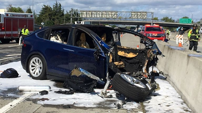 The deadly collision happened in California in March 2018. Pic: KTVU/NBC News