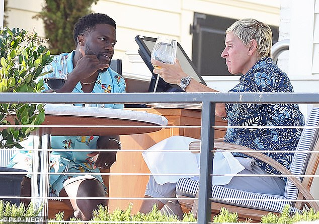 Besties: Kevin Hart, 41, and Ellen DeGeneres, 62, looked extra chummy as they enjoyed a sit down lunch at Rosewood Miramar in Montecito