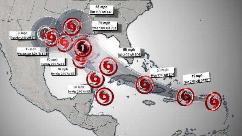 Gulf Coast on alert as simultaneous tropical storms threaten