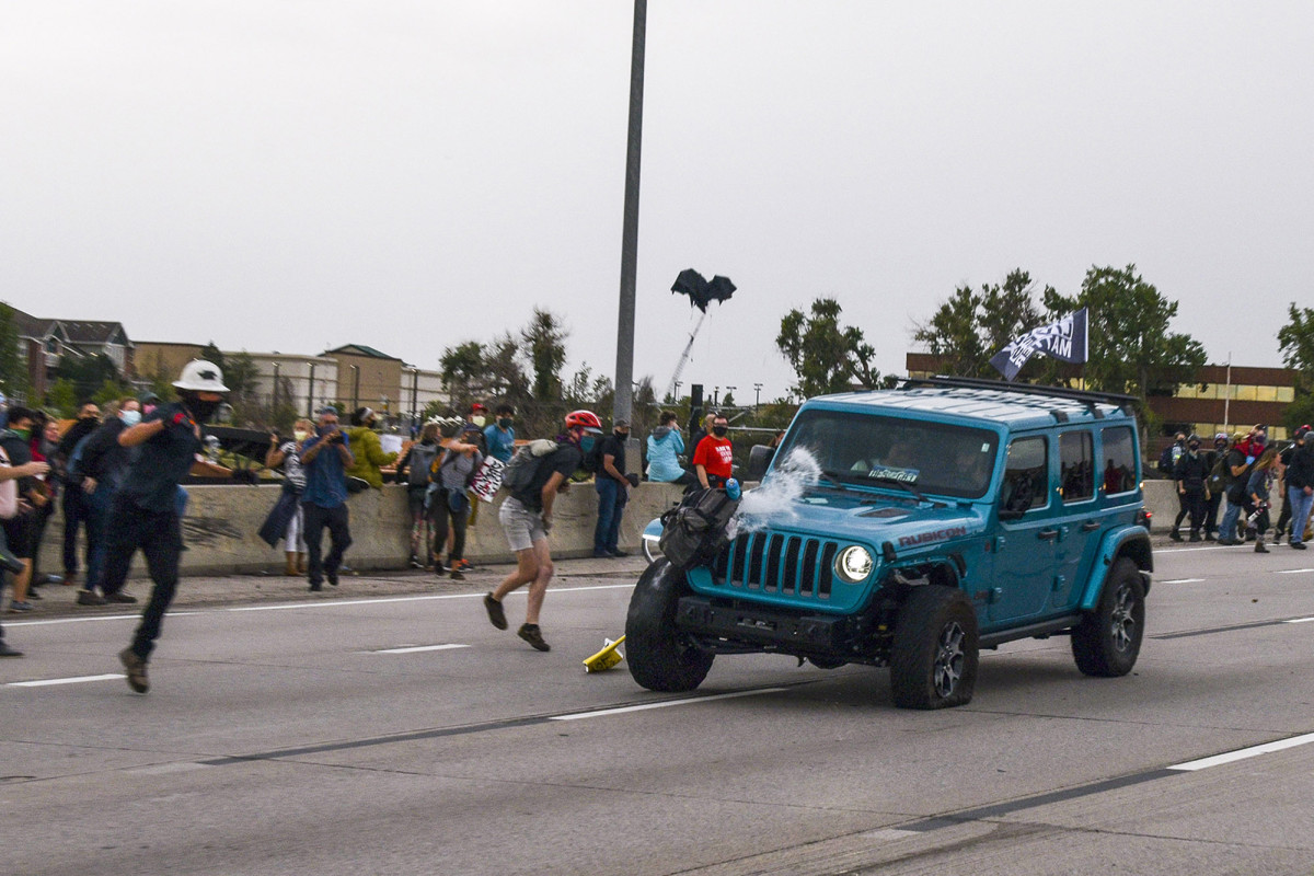 Jeep that ran through BLM protest got lost on way to airport: passenger