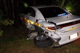 A police car that was damaged in the crash. Pic: @NC_GHSP