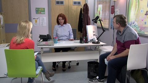 leanne battersby and steve mcdonald at the hospital in coronation street