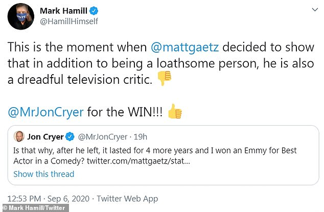 'In addition to being a disgusting person, he is also a terrific television commentator': Star Wars legend Mark Hamm also backs Kraer.