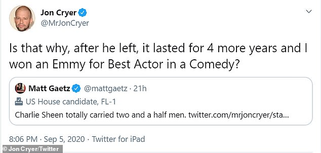 Then John replied: 'Is that why it lasted 4 more years after he left and won the land for the best actor in comedy?'