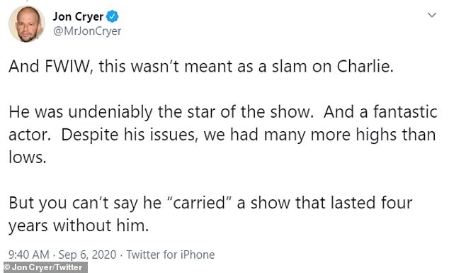 "'He was undeniably the star of the show': Matt could not say, says Krieer ressed [Sheen] ""Carried"" A show that lasted four years without him, '' but he made it clear that he did not underestimate the abilities of his abused 55 - year - old ex - cast."