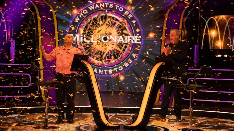 Donald Fear, left, with the quiz show's presenter Jeremy Clarkson