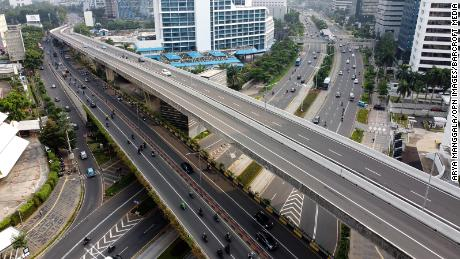 Aerial photos show light traffic flow on September 14, the first day of the implementation of large-scale social restrictions in Jakarta.