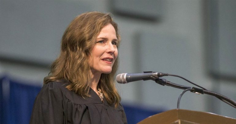 Amy Connie Barrett emerges as a front runner to fill the Supreme Court seat in Zinsberg