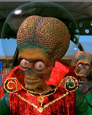 A scene from the movie Mars Attacks, however any life forms on the Red Planet can be almost simple creatures.